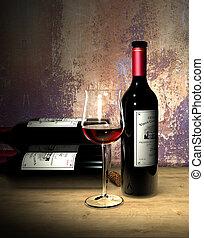 Grand Cru Rotwein - Rotwein Glas und Flasche mit fiktivem...