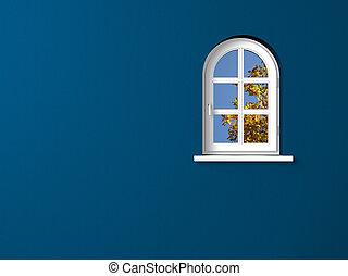Bogenfenster mit blauer Wand - Herbstbild mit weiem Fenster...