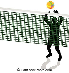 volleyball player black silhouette illustration