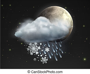 weather icon - Vector illustration of cool single sleet...