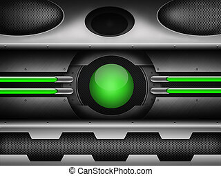 green ball on sci fi background