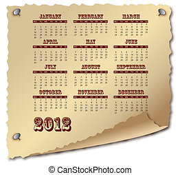 Scroll of old paper with calendar 2012