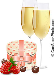 Greeting card with champagne, strawberrie, gift box and...