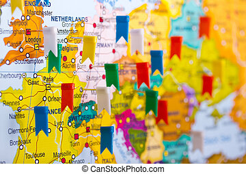 Colored flags on the map of Europe - an interesting travel...