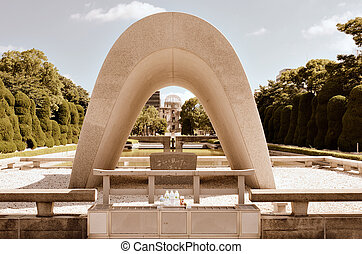 Memorial Cenotaph - The Memorial Cenotaph at Hiroshima Peace...