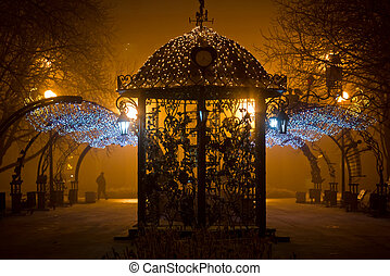 City Park at night in the fog - Urban park at night,...