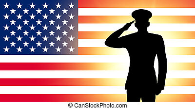 The USA flag and the silhouette of a soldier's military...