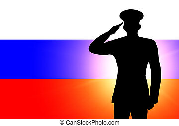 The Russian flag and the silhouette of a soldier's military...
