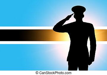 The Botswana flag and the silhouette of a soldiers military...