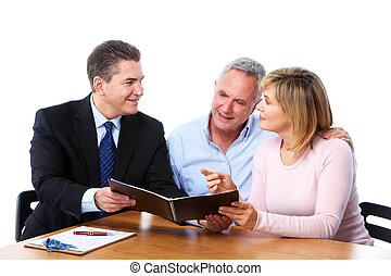 Senior couple with financial adviser Isolated on white...
