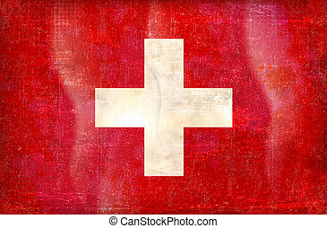 vector grunge styled flag of switzerland - Old grunge flag...