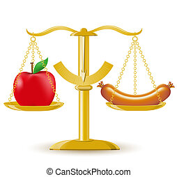 scales choice diet or obesity vector illustration