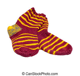 Woolen socks - Pair of knitted woolen socks it is isolated...