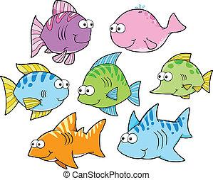 Summer Fish Vector Illustration Set