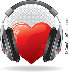 Heart with headphones - Red heart with headphones. Music...