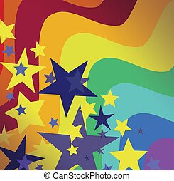 Rainbow Bright Star Background - Colorful psychedelic...