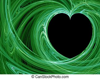 Green love - Green wispy fractals heart pattern background