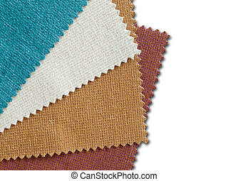 Sample nature tone color fabric for making furniture on whtie background