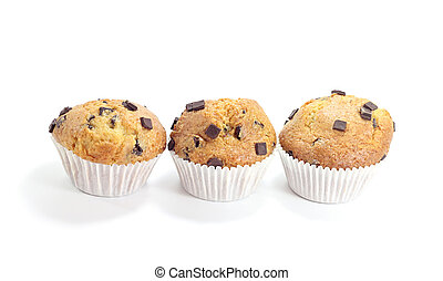 three sweet chocolate muffins isolated on white background