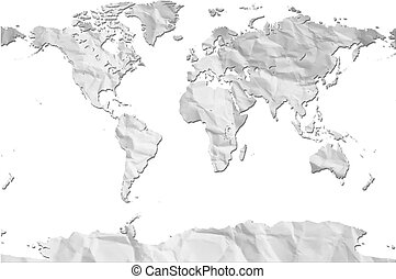 White crumpled Paper World Map