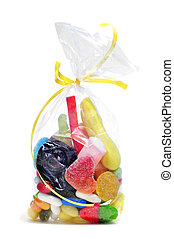 candies - a bag with candies on a white background