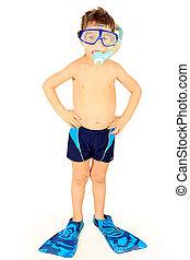 blue flippers - Little boy in scuba mask and snorkel....