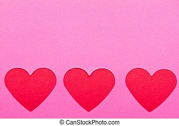 Cor-de-rosa, corações, papel, vermelho