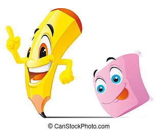 Pencil and eraser cartoon characters - Isolated illustration...