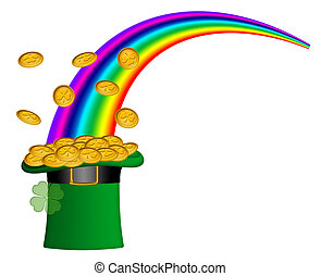 Saint Patricks Day Hat of Gold with Rainbow - Saint Patricks...