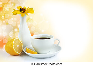 cup of tea with lemon - morning cup of tea with lemon, still...