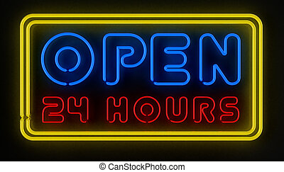 Open 24 Hours Sign - Neon sign displaying open 24 hours over...