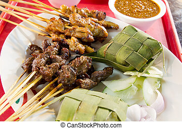 Chicken and Lamb Satay Skewers with Ketupat Rice and Peanut...