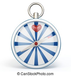 3d compass finding love on white background