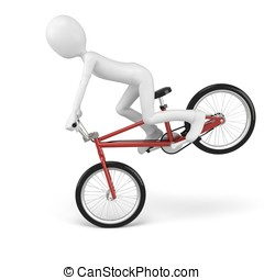 3d man with generic stunt bike on white background