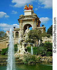fountain and cascade in park De la Ciutadella in barcelona,...