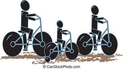 Family Bike Riding Together