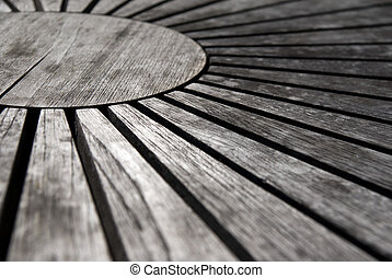 Wooden table top - background of round table top with...