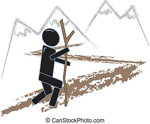 Simple Figure Hiking - drawing of a simple figure hiking...