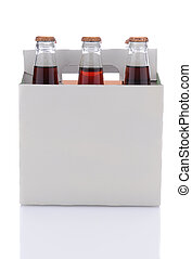 Six Pack of Cola Soda Bottles - Side view of a six pack of...