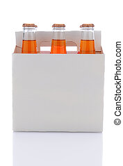 Six Pack of Orange Soda Bottles - Side view of a six pack of...