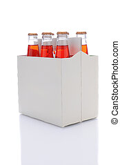 Six Pack of Strawberry Soda Bottles - Three quarters view of...