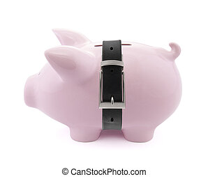 Piggy bank with a tight belt