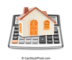 Orange toy house on calculator