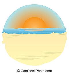 sunset on ocean.