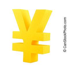 Golden yen symbol isolated on white