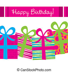 happy birthday card with gifts and stripes vector...