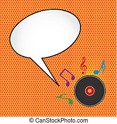 pop art music - pop art with music notes and disc with...