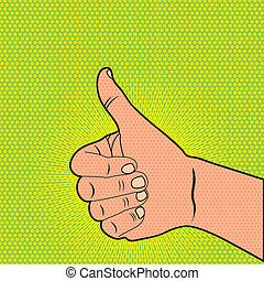 good hand over green background, pop art. vector...