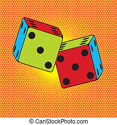 dices pop art - colorful dices over orange background,pop...