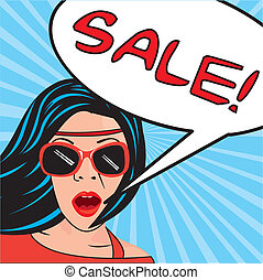 pop art sale - pop art women with thought bubbles sale....
